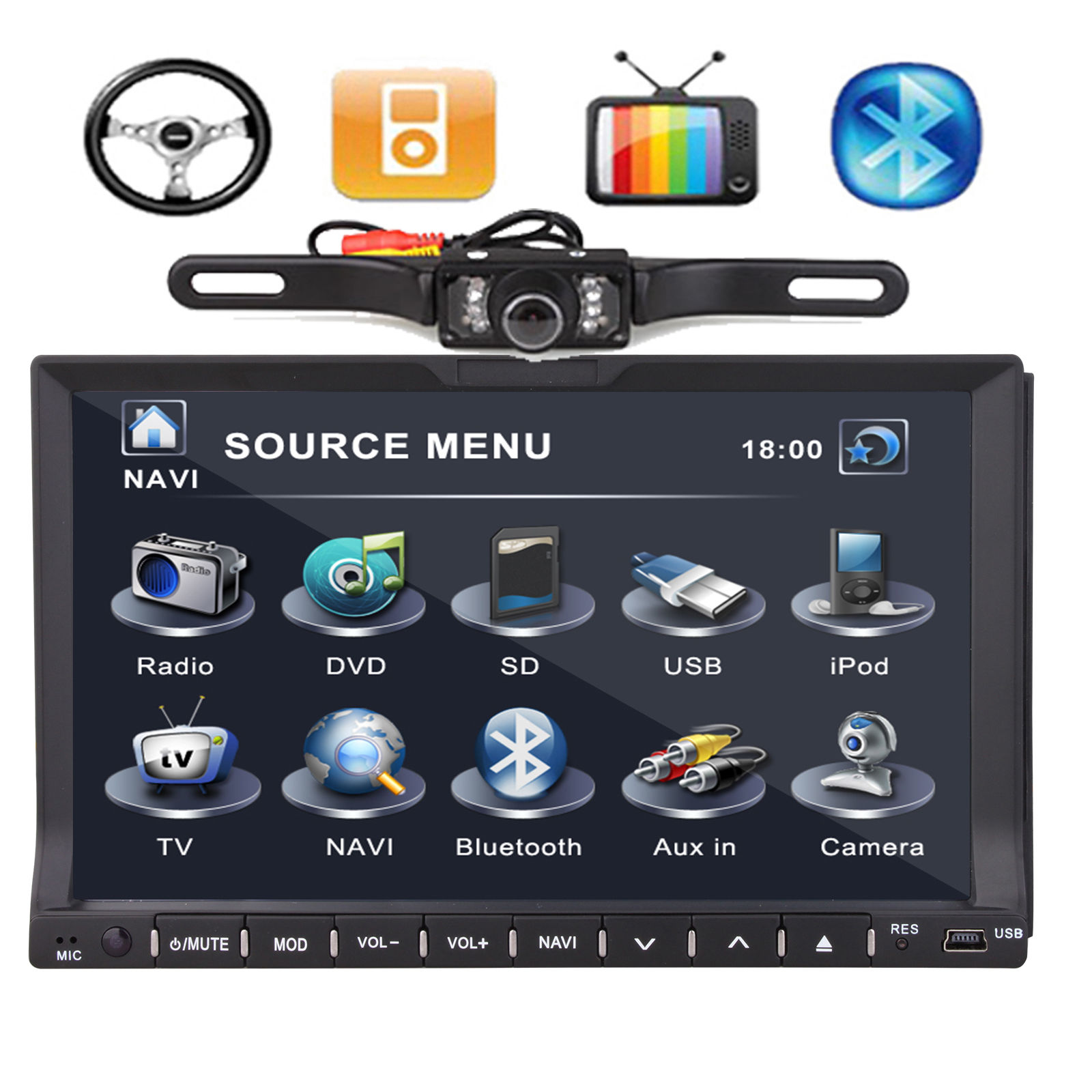 Double din 7 quot car dvd player in dash radio gps head unit
